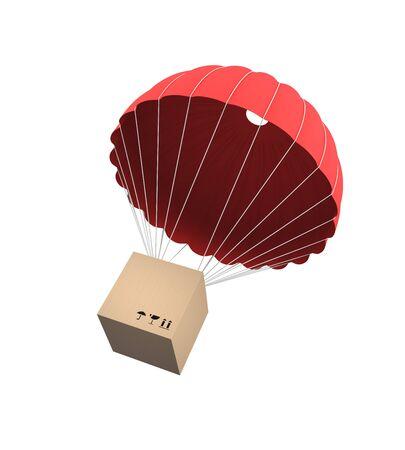 spadochron: Koncepcja dostawy. Samodzielnie na biały