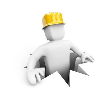darby: Worker in hole isolated on white Stock Photo