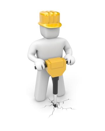 Pre�lufthammer: Arbeitnehmer mit Jackhammer. Arbeiter. Isoliert auf weiss