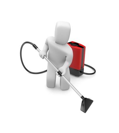 personal de limpieza: Trabajador manual. Aislado en blanco Foto de archivo