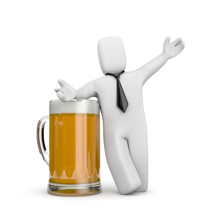 beer and necktie: Business concept. Isolated on white