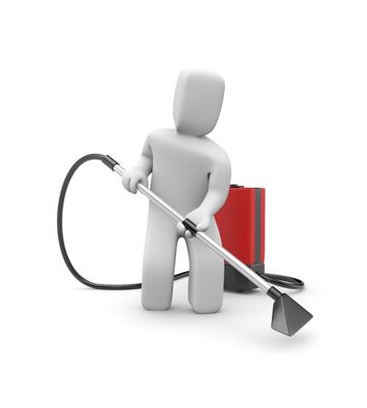limpiadores: Servicio de la met�fora. Aislado en blanco Foto de archivo