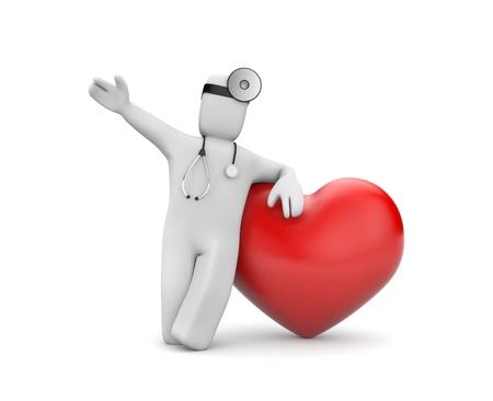 stethoscope heart: Medical metaphor. Isolated on white Stock Photo