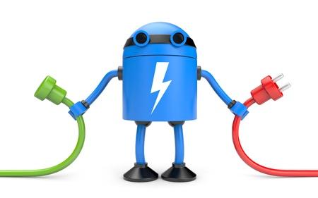 Nieuwe technologieën metafoor. Geïsoleerd op wit Stockfoto