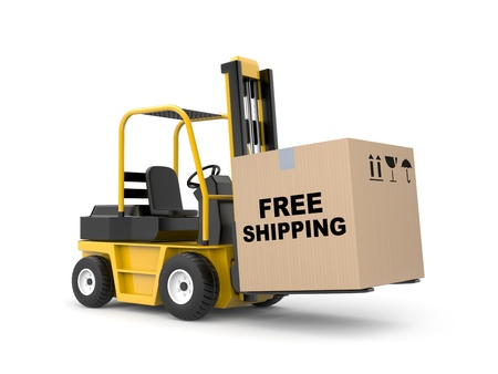 lift trucks: Delivery metaphor. Isolated on white Stock Photo