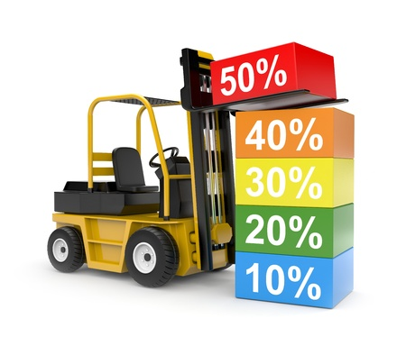 forklift truck: Business concept. Isolated on white