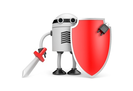 robot with shield: New technologies metaphor. Isolated on white Stock Photo