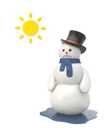 thaw: Unhappy snowman. Isolated on white Stock Photo