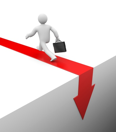 crisis economica: Concepto de negocio. Aislado en blanco