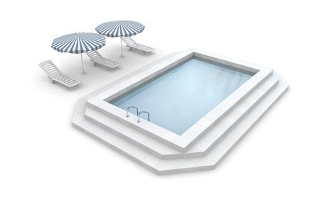 poolside: Metaphor of recreation. Isolated on white Stock Photo