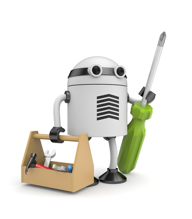 android robot: Manual worker. Isolated on white
