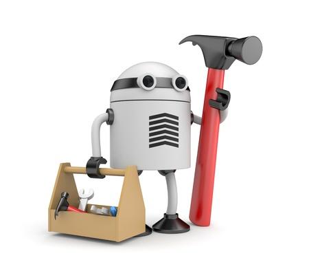 robot: Pracownik robot. Pojedynczo na białym Zdjęcie Seryjne