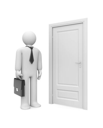 closed door: Business metaphor. Isolated on white
