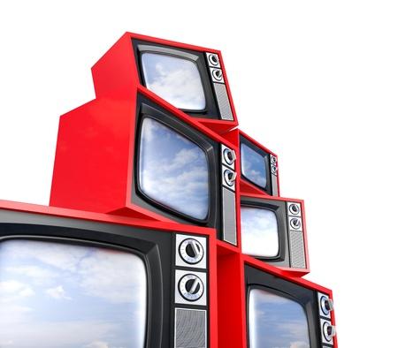 outdoor electricity: Retro Tv Stock Photo
