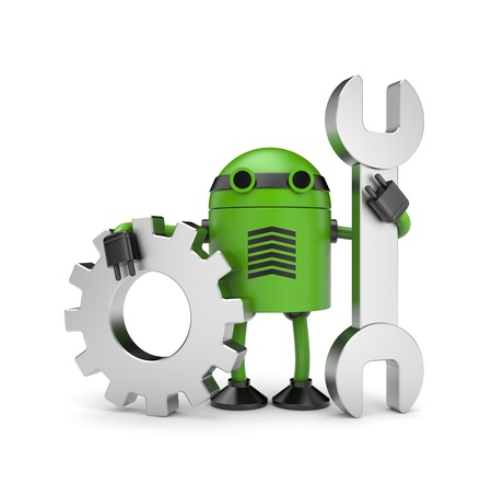 symbol robot: New technologies concept. Isolated on white Stock Photo