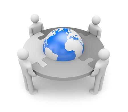 puzzle globe: Partnership. Isolated on white