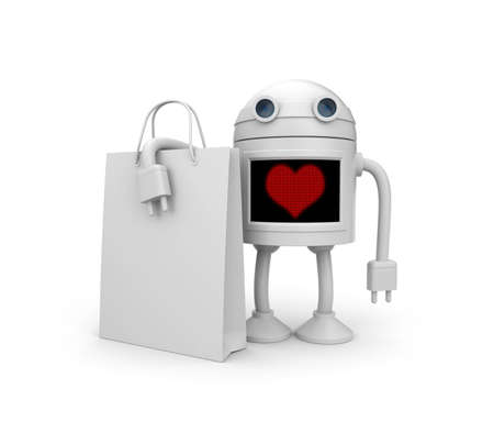 android robot: I love shopping
