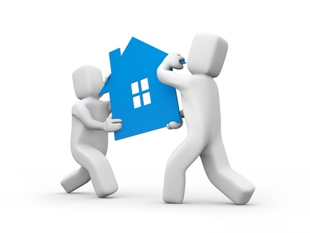 dream house: Person carrying house icon  Teamwork Business concept isolated on white Stock Photo