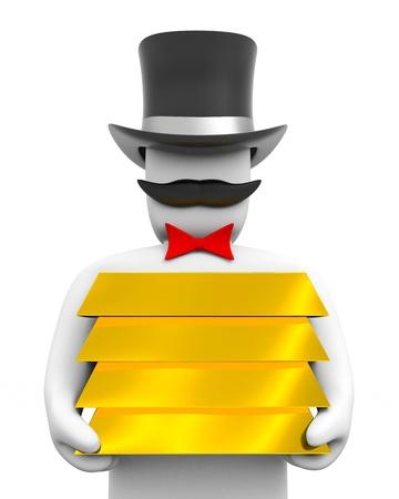 gold ingot: The oligarch holds a gold ingot Stock Photo