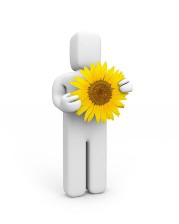 3d flower: Person with sunflower