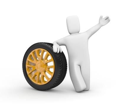 job offers: The excellent offer  The person sells wheels  Stock Photo