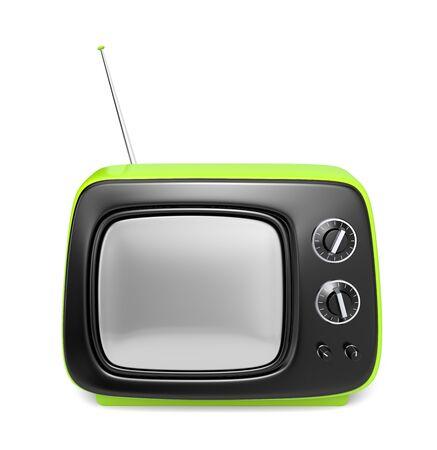 tvset: Green retro TV Stock Photo