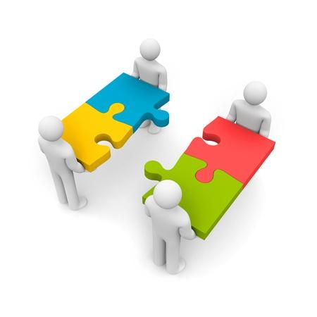 merge: Partnership  Isolated on white
