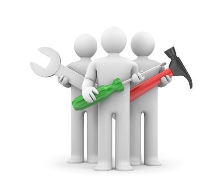 standard steel: Teamwork metaphor  Isolated on white