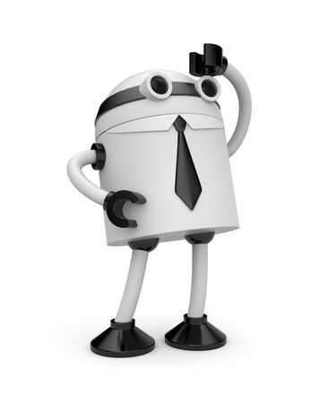 android robot: Business concept. Isolated on white