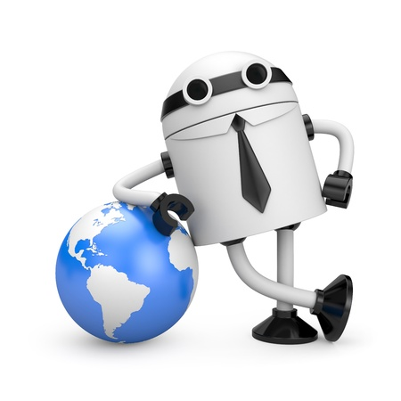 lean machine: Robot with globe Stock Photo