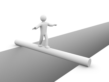 tightrope: Success concept  Isolated on white