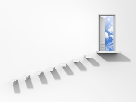 stairway to heaven: Conceptual image, isolated on white
