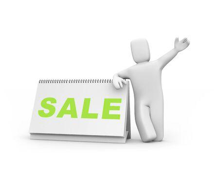 Sale concept  Person and calendar  Easy editable image photo