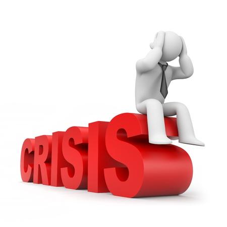 世界金融危機の実業家滝ビジネス概念分離したホワイト 写真素材