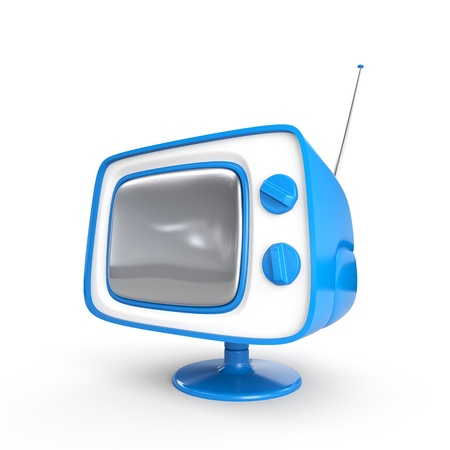 tv station: Stylish retro TV - Blue edition  More TV in my portfolio  Stock Photo