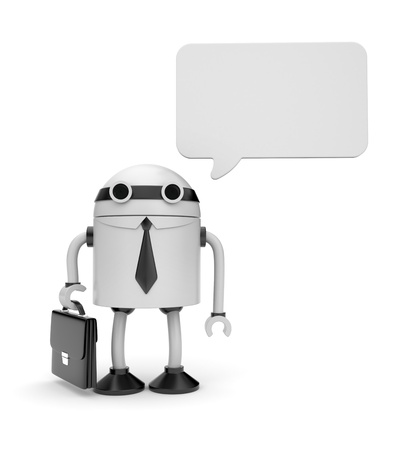 talking robot: Business concept. Isolated on white
