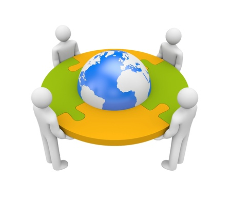 puzzle globe: Partnership concept   Isolated on white Stock Photo