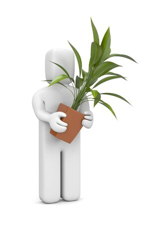 3d flower: Person with plant  Image