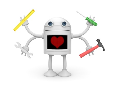 android robot: Love for work metaphor  Isolated on white