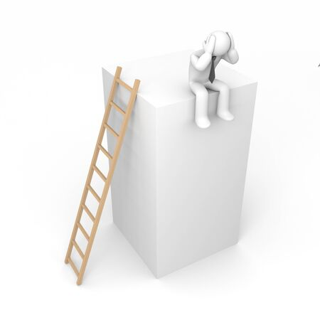 woman stairs: Business concept. Isolated on white.