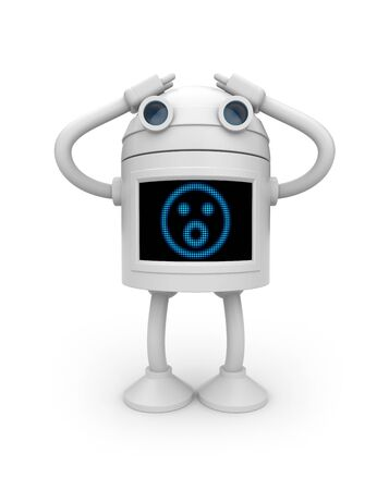 android robot: Confused metaphor. Isolated on white