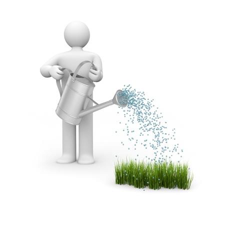 water flowing: Concept for spring. Gardening metaphor Stock Photo