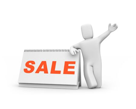 turns of the year: Time to sale. Person and calendar. Easy editable image