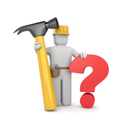 problem solved: 3d worker with hammer and question