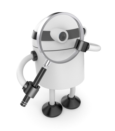 jackplug: Robot with magnify glass Stock Photo
