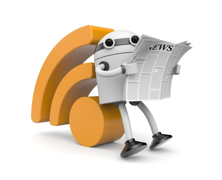 Robot read newspaper photo
