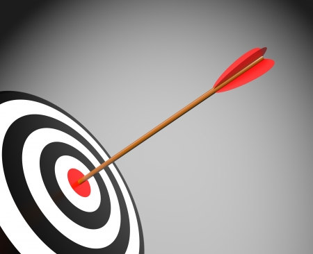 archery target: Success concept  Target with arrow Stock Photo