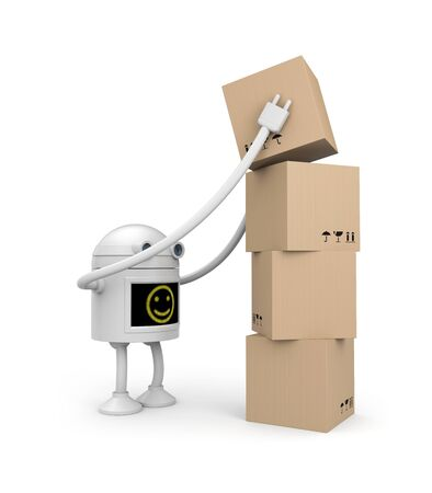 Robot with boxes photo