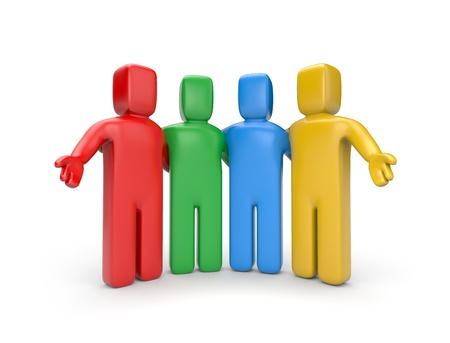 symbols metaphors: Teamwork concept  Isolated on white Stock Photo