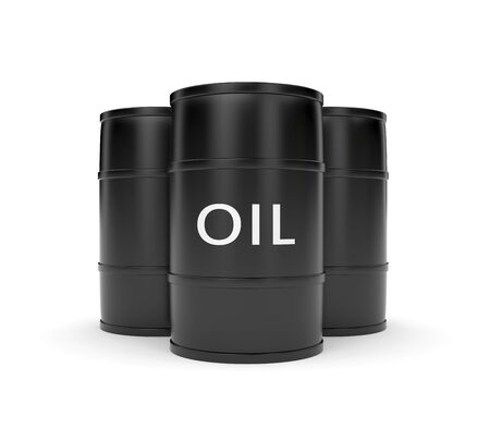 crude: Oil barrels isolated on white